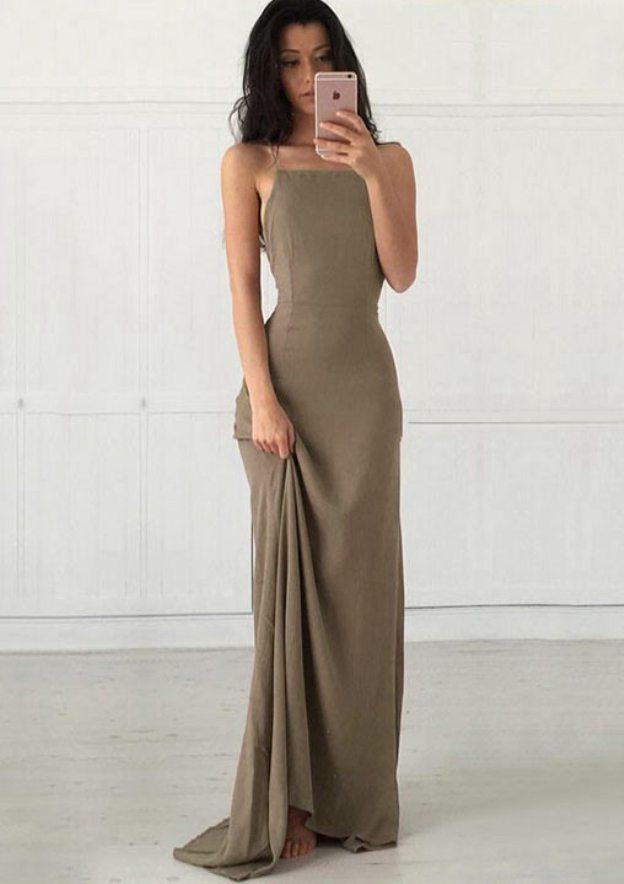 Sheath/Column Square Neckline Sleeveless Sweep Train Chiffon Prom Dress