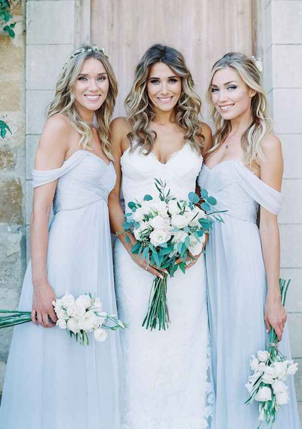 A-Line/Princess Off-The-Shoulder Sleeveless Long/Floor-Length Chiffon Bridesmaid Dresses With Pleated