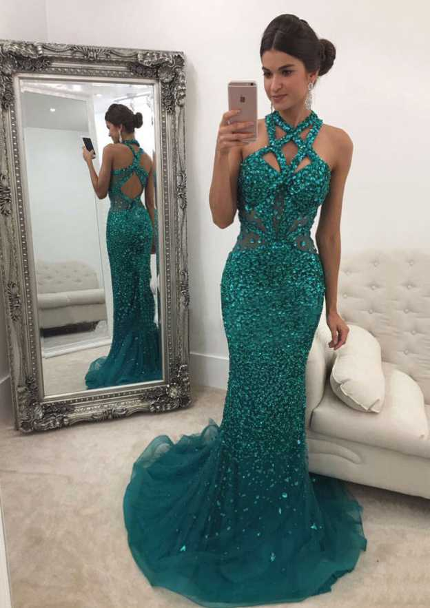 Trumpet/Mermaid Scalloped Neck Sleeveless Sweep Train Tulle Prom Dress With Crystal