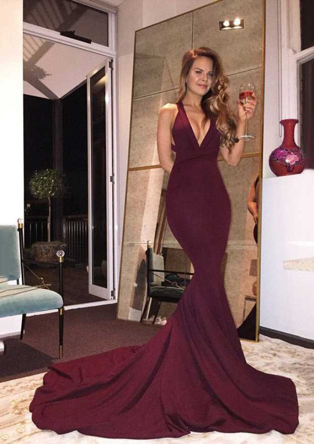 Trumpet/Mermaid V Neck Sleeveless Court Train Elastic Satin Prom Dress