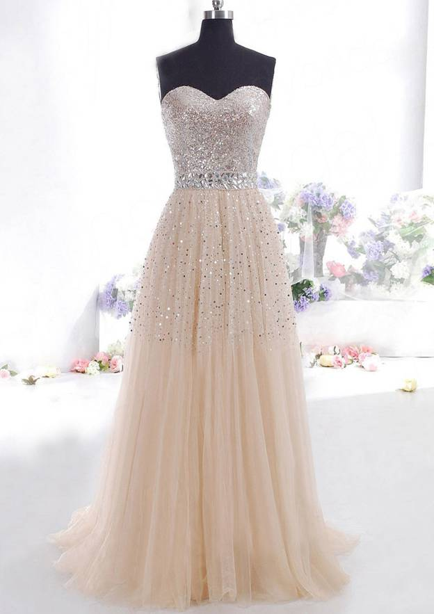 A-Line/Princess Strapless Sleeveless Sweep Train Tulle Prom Dress With Beading