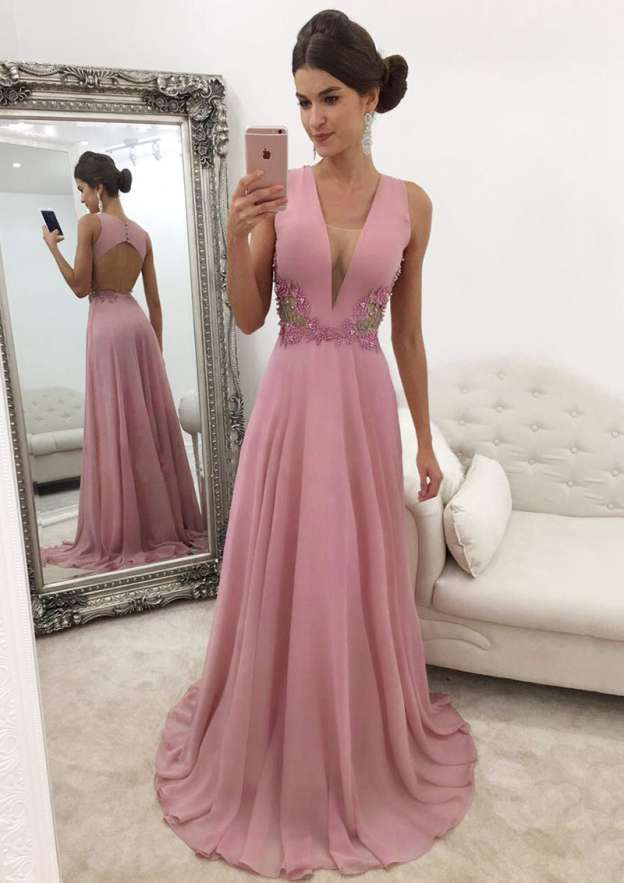 A-Line/Princess V Neck Sleeveless Sweep Train Chiffon Prom Dress With Beading
