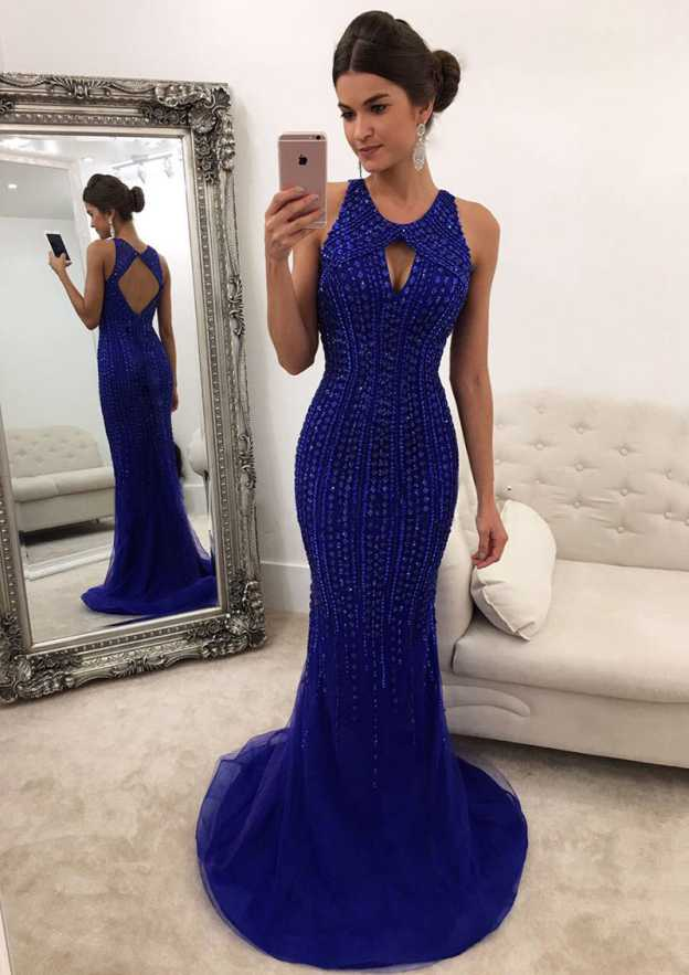 Trumpet/Mermaid Scoop Neck Sleeveless Sweep Train Tulle Prom Dress With Crystal Detailing