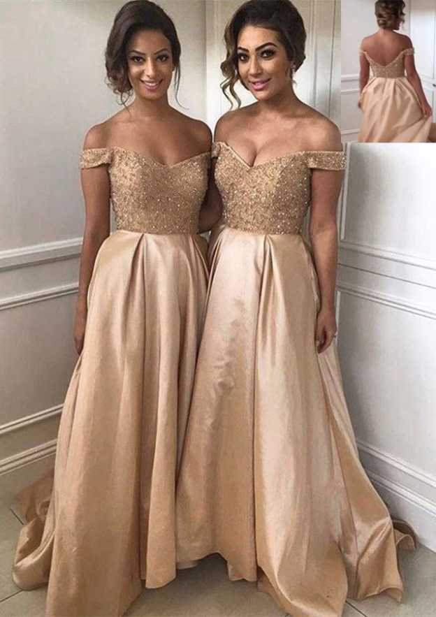 A-Line/Princess Off-The-Shoulder Sleeveless Sweep Train Taffeta Prom Dress With Beading