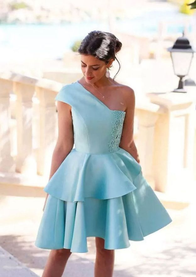 A-Line/Princess One-Shoulder Sleeveless Short/Mini Satin Homecoming Dress With Lace Ruffles