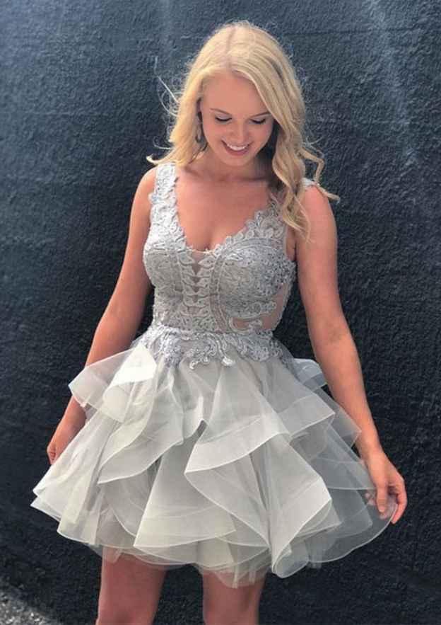 A-Line/Princess V Neck Sleeveless Short/Mini Organza Homecoming Dress With Appliqued Ruffles
