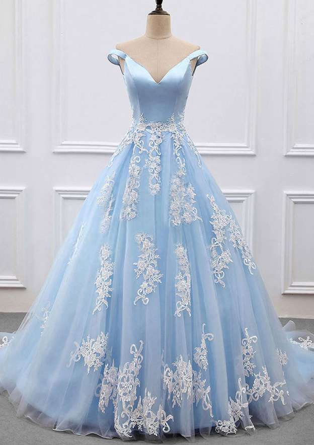 Ball Gown V Neck Sleeveless Court Train Tulle Prom Dress With Appliqued