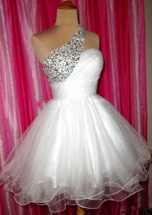 A-Line/Princess One-Shoulder Sleeveless Short/Mini Organza Homecoming Dress With Beading