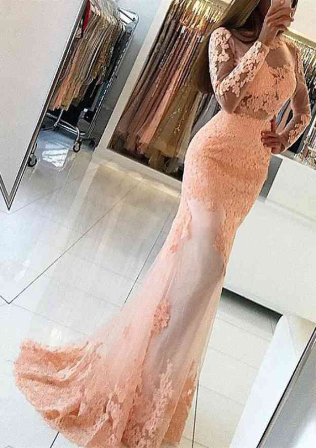 Trumpet/Mermaid Scoop Neck Full/Long Sleeve Sweep Train Tulle Prom Dress With Lace Appliqued
