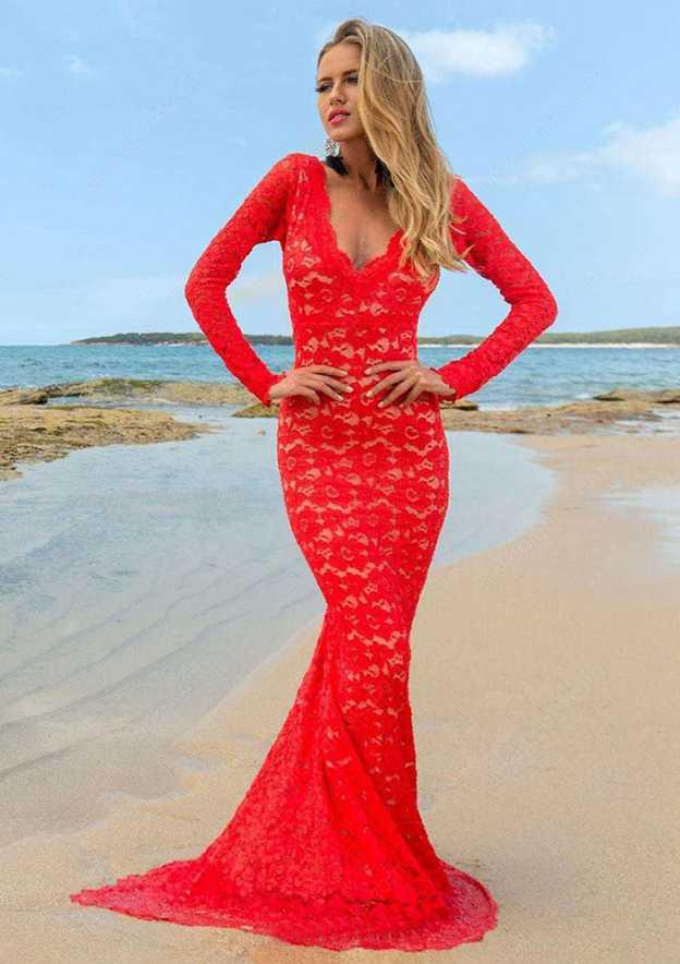 Trumpet/Mermaid V Neck Full/Long Sleeve Sweep Train Lace Prom Dress