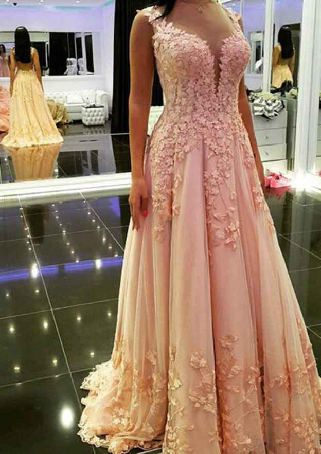 A-Line/Princess Sweetheart Sleeveless Sweep Train Tulle Prom Dress With Appliqued