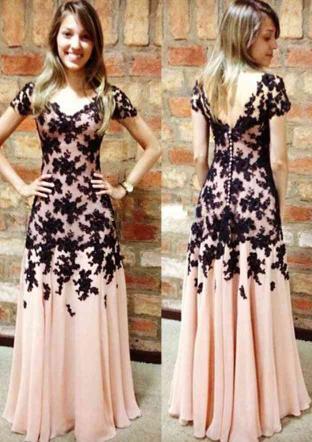 A-Line/Princess V Neck Short Sleeve Long/Floor-Length Chiffon Prom Dress With Appliqued