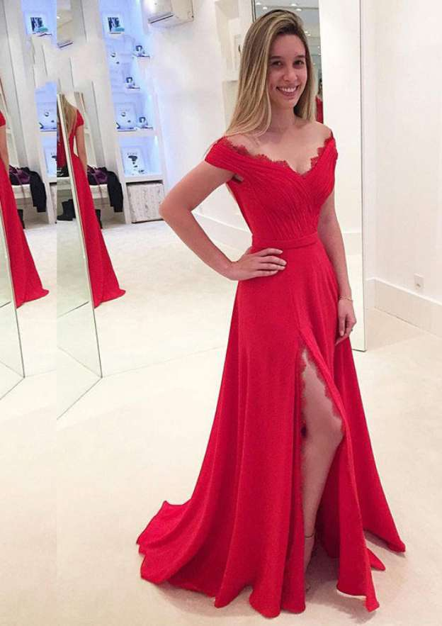 A-Line/Princess Off-The-Shoulder Sleeveless Sweep Train Chiffon Prom Dress With Split Pleated