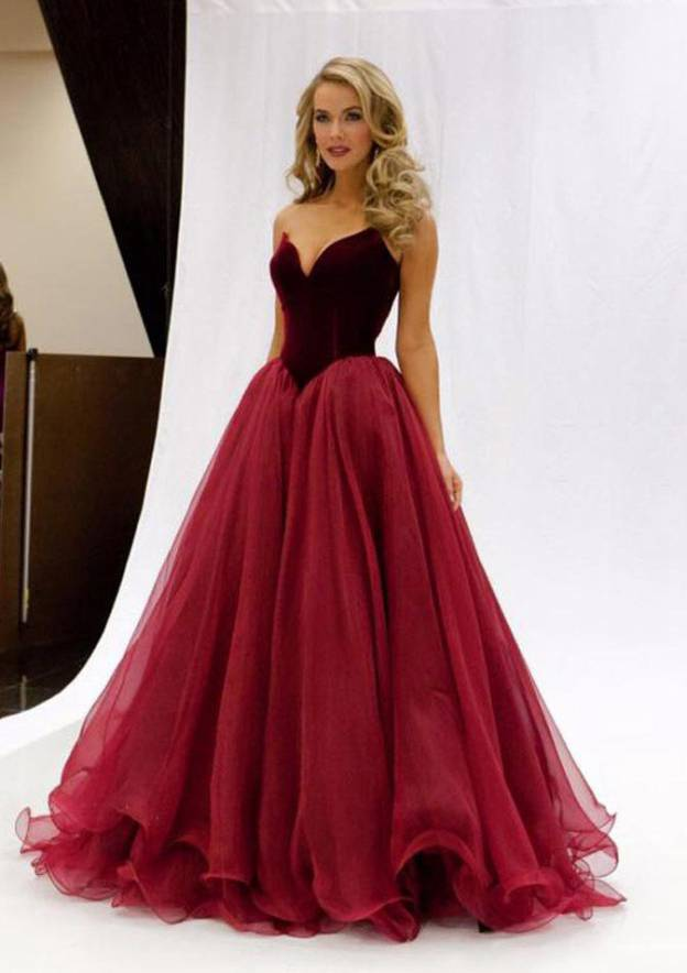 Ball Gown Sweetheart Sleeveless Sweep Train Tulle Prom Dresses