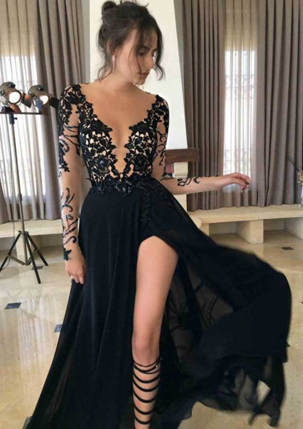 A-Line/Princess Scoop Neck Full/Long Sleeve Long/Floor-Length Chiffon Prom Dress With Split Appliqued