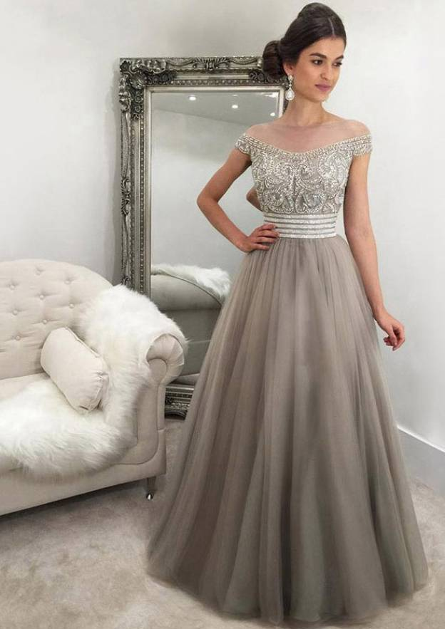 A-Line/Princess Off-The-Shoulder Sleeveless Long/Floor-Length Tulle Prom Dress With Crystal Detailing Beading