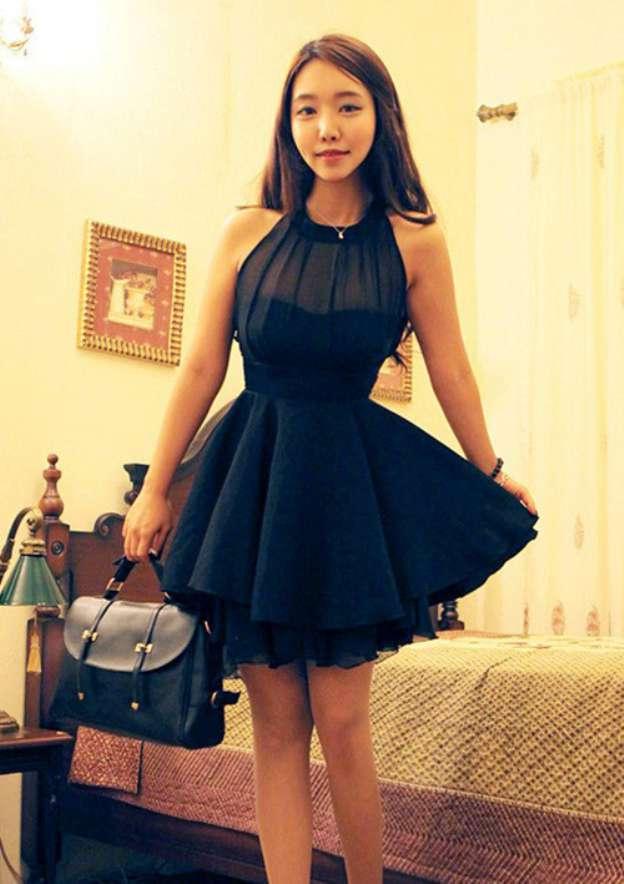 A-Line/Princess Scoop Neck Sleeveless Short/Mini Chiffon Homecoming Dress
