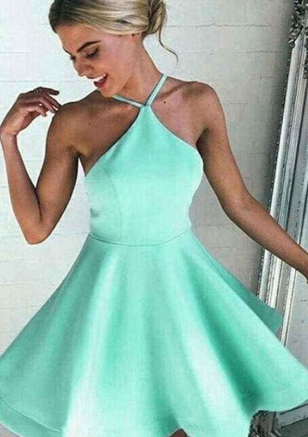 A-Line/Princess Scalloped Neck Sleeveless Short/Mini Satin Homecoming Dress