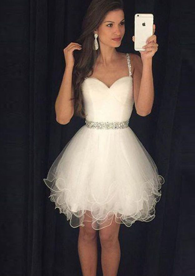 A-Line/Princess Sweetheart Sleeveless Short/Mini Organza Homecoming Dress With Beading Waistband