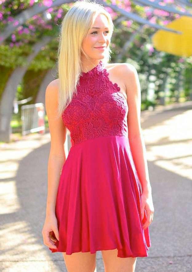 A-Line/Princess High-Neck Sleeveless Short/Mini Chiffon Homecoming Dress With Lace