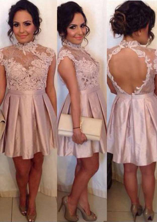 A-Line/Princess High-Neck Sleeveless Short/Mini Satin Homecoming Dress With Lace