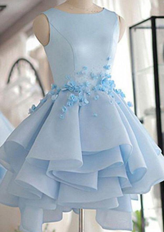 Sheath/Column Bateau Sleeveless Short/Mini Satin Homecoming Dress With Flowers Ruffles
