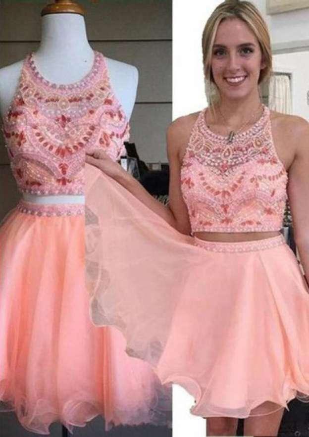 A-Line/Princess Scoop Neck Sleeveless Short/Mini Organza Homecoming Dress With Crystal Beading