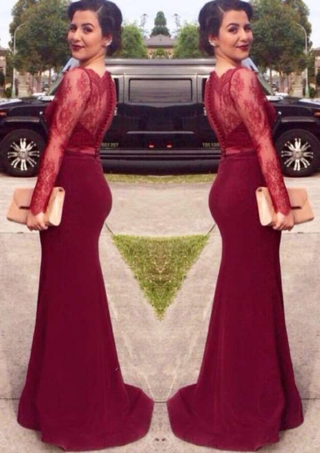 Sheath/Column Scalloped Neck Full/Long Sleeve Long/Floor-Length Satin Evening Dress With Lace