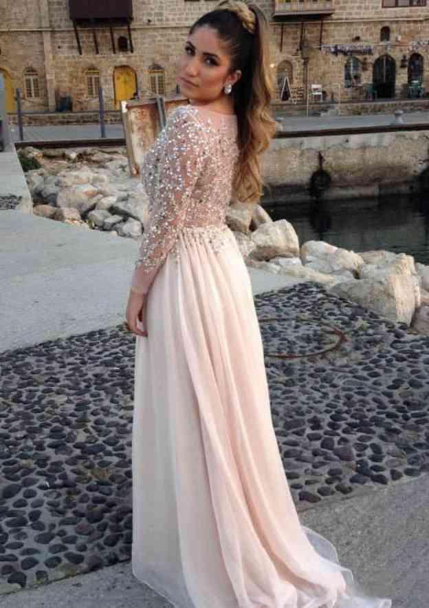 A-Line/Princess Bateau Full/Long Sleeve Sweep Train Chiffon Prom Dress With Beading