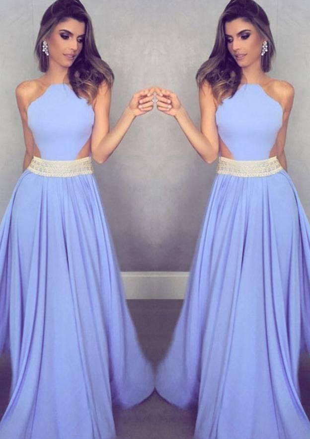 A-Line/Princess Scalloped Neck Sleeveless Long/Floor-Length Chiffon Prom Dress With Beading