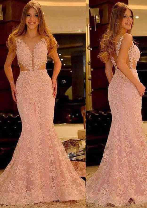 Sheath/Column Sweetheart Sleeveless Sweep Train Lace Prom Dress With Beading