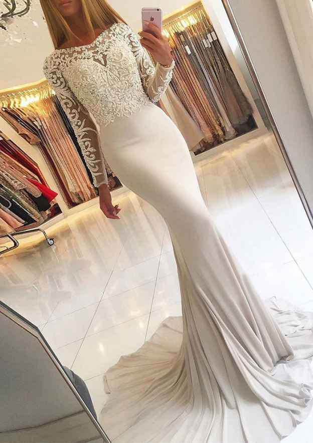 Trumpet/Mermaid V Neck Full/Long Sleeve Sweep Train Jersey Evening Dress With Beading Lace