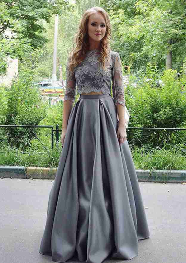 A-Line/Princess Scoop Neck 3/4 Sleeve Long/Floor-Length Satin Prom Dress With Lace