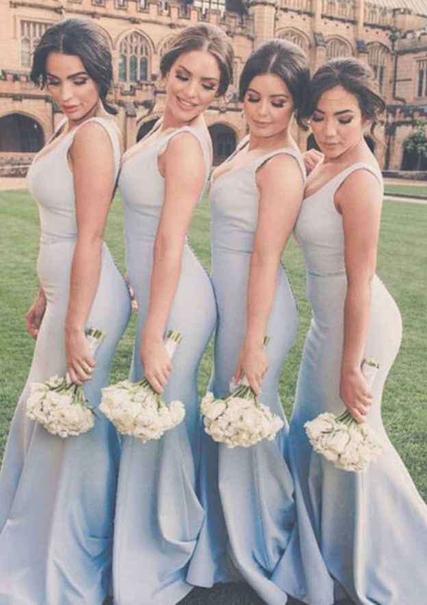 Trumpet/Mermaid V Neck Sleeveless Sweep Train Elastic Satin Bridesmaid Dresses