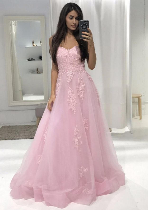 Ball Gown Sweetheart Sleeveless Long/Floor-Length Tulle Prom Dress With Lace