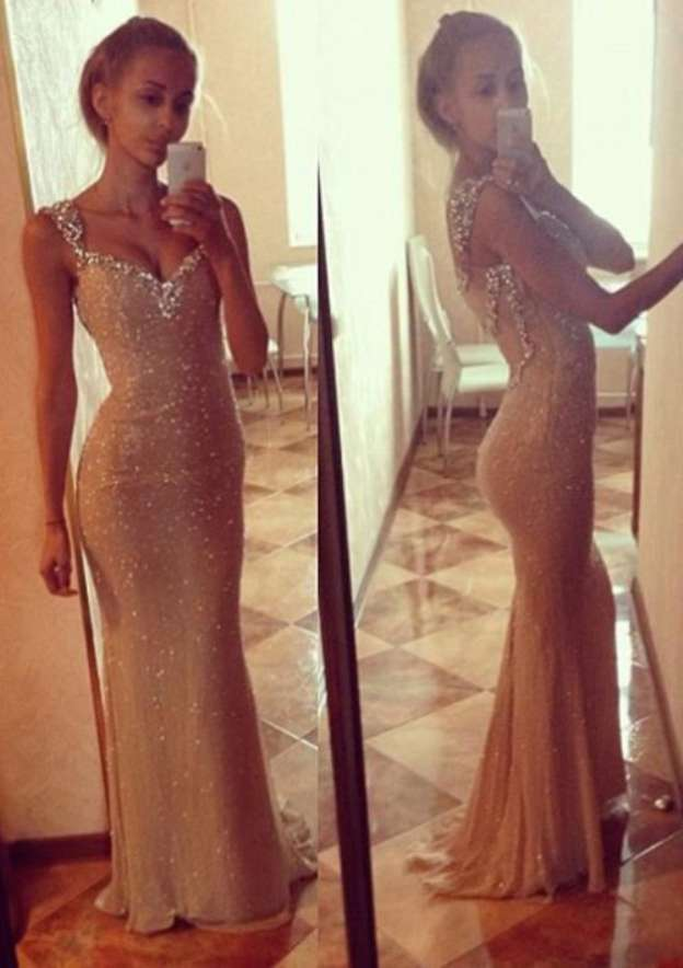 Sheath/Column Sweetheart Sleeveless Sweep Train Sequined Prom Dress With Sequins