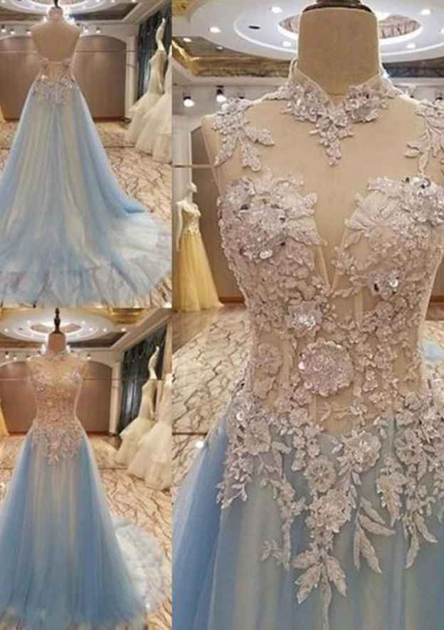 A-Line/Princess High-Neck Sleeveless Sweep Train Tulle Prom Dress With Appliqued Beading