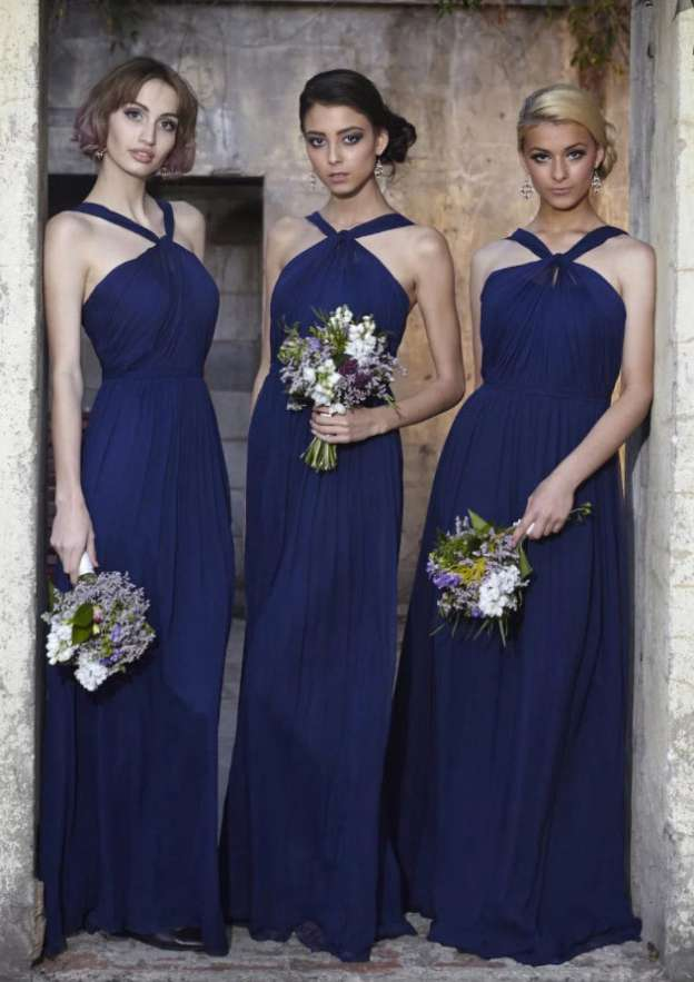 A-Line/Princess Scalloped Neck Sleeveless Long/Floor-Length Chiffon Bridesmaid Dress With Pleated