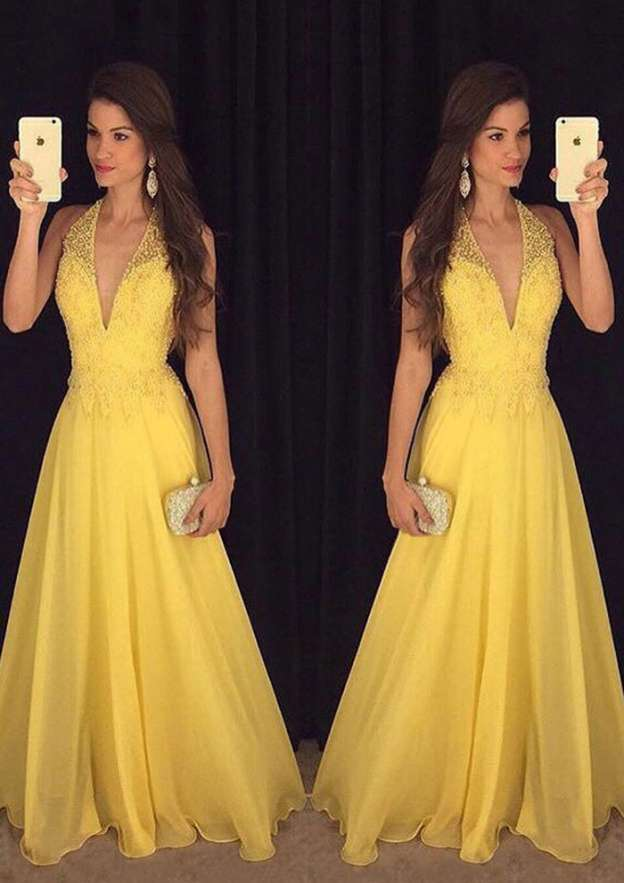A-Line/Princess Halter Sleeveless Long/Floor-Length Chiffon Prom Dress With Beading