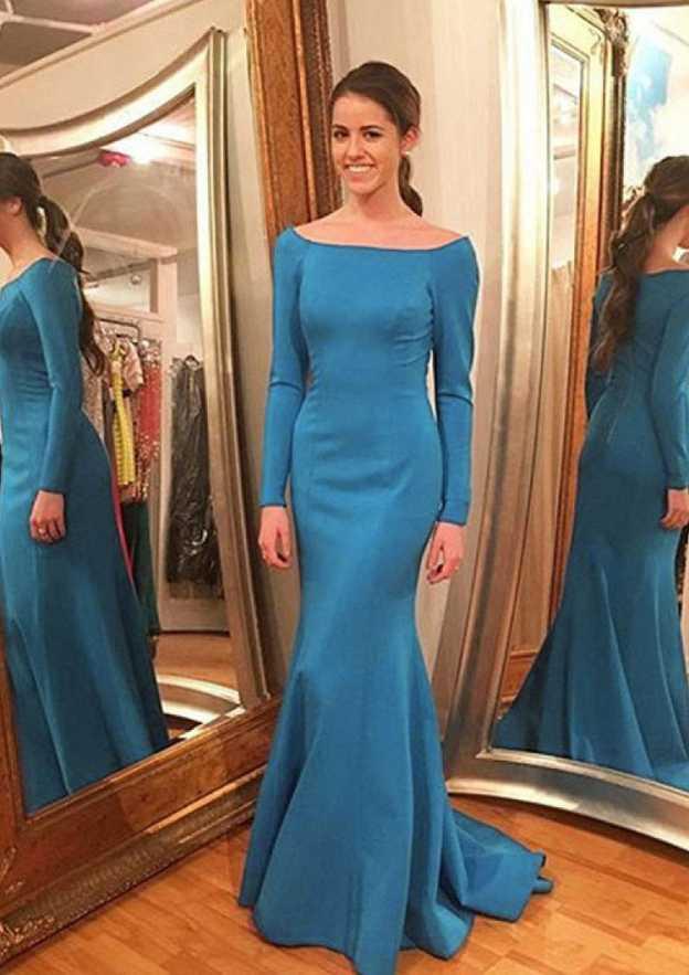 Sheath/Column Bateau Full/Long Sleeve Sweep Train Elastic Satin Prom Dress