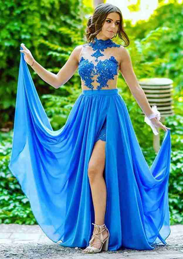 A-Line/Princess High-Neck Sleeveless Long/Floor-Length Chiffon Prom Dress With Appliqued