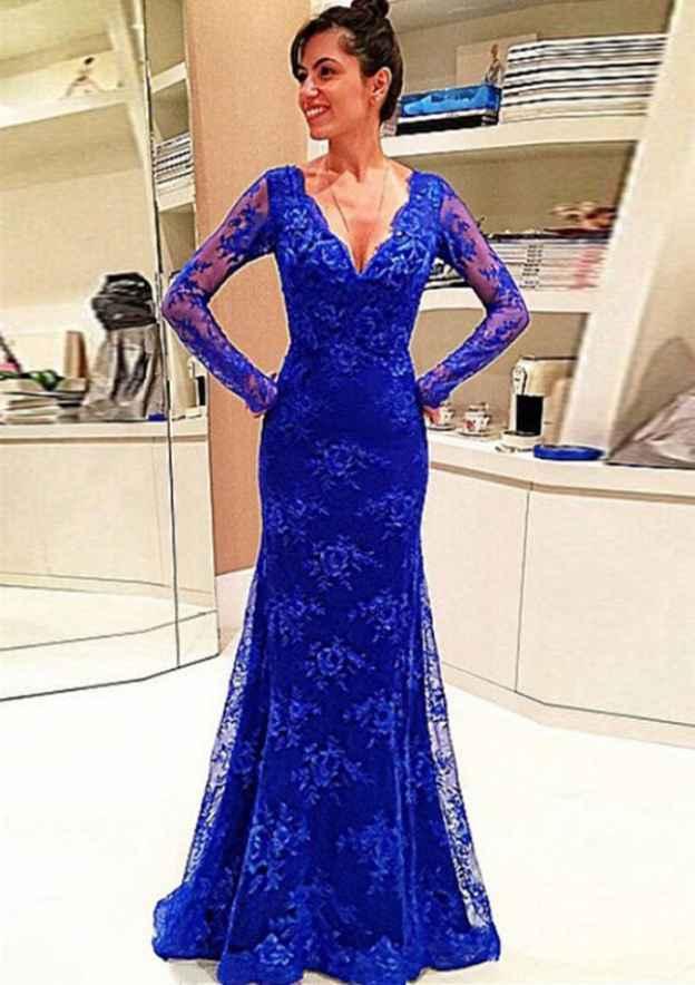 Sheath/Column V Neck Full/Long Sleeve Sweep Train Lace Prom Dress