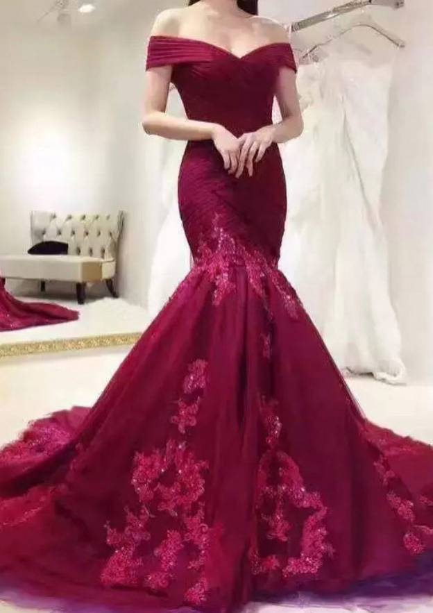 Trumpet/Mermaid Off-The-Shoulder Short Sleeve Court Train Tulle Prom Dress With Appliqued