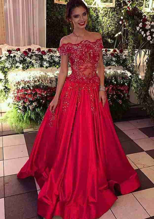 A-Line/Princess Off-The-Shoulder Sleeveless Sweep Train Satin Prom Dress With Appliqued Beading