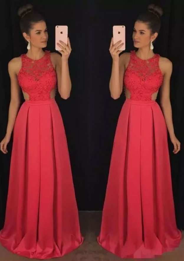 A-Line/Princess Scoop Neck Sleeveless Sweep Train Satin Prom Dress With Lace