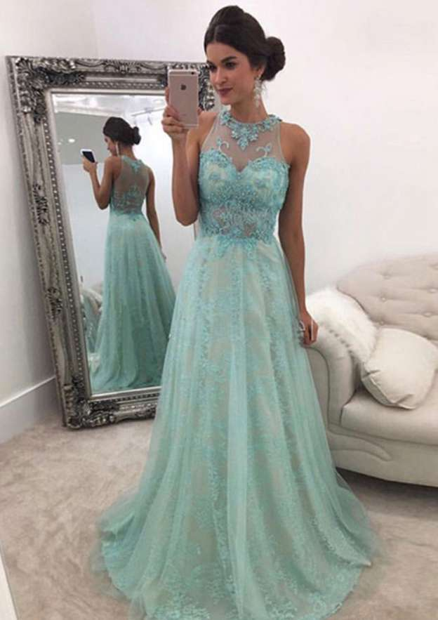 A-Line/Princess Scoop Neck Sleeveless Sweep Train Tulle Prom Dress With Appliqued Beading