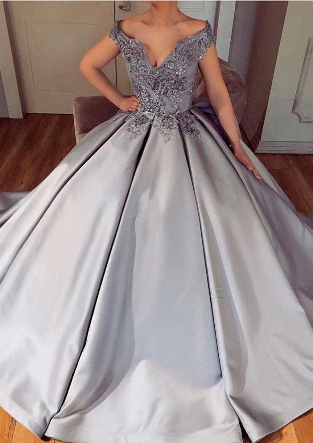 A-Line/Princess V Neck Sleeveless Court Train Satin Prom Dress With Appliqued