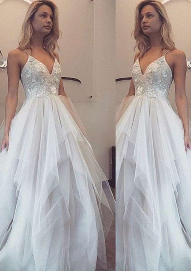 A-Line/Princess Sweetheart Sleeveless Long/Floor-Length Tulle Prom Dress With Lace