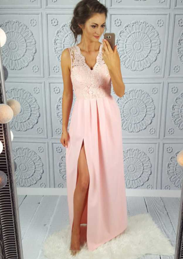A-Line/Princess V Neck Sleeveless Long/Floor-Length Satin Prom Dress With Appliqued