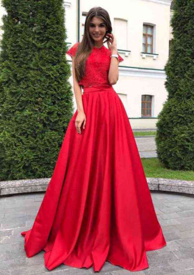 A-Line/Princess Scoop Neck Short Sleeve Sweep Train Charmeuse Prom Dress With Lace